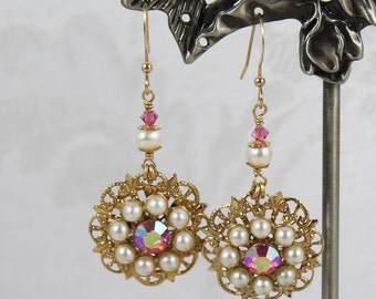 Upcycled Vintage Golden Filigree Pearl and Pink Rose Swarovski® Crystal 14k Gold Fill Earrings