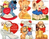 Vintage 1940s Animal Elephant Dog Bear Valentine Digital Download 329 - by Vintage Bella