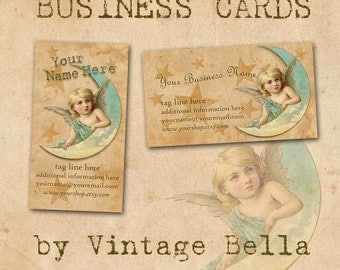 Vintage Victorian Angel Moon and Stars Business Cards By Vintage Bella Professionally Printed