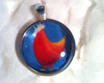 Red Hen Art Jewelry - 1 Inch Circle Bezel Sterling Silver Pendant -  Hen - Bird - Chicken Art Jewelry