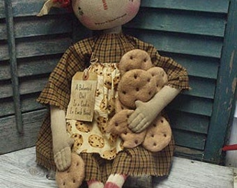 "Primitive E-PATTERN 23"" Raggedy Doll and Cookies A Balanced Diet"