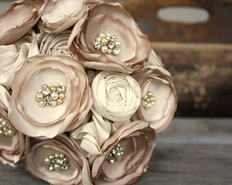 "Champagne bridal bouquet, Fabric flower wedding bouquet, 8"" alternative fabric flower bouquet"