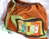 Personalized Diaper Toy Bag Handmade 100% upcycled from tShirt material BIG One of a Kind Double Drawstring