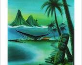 Dawn of Marquesan Modern.   Tiki Magazine cover art, spring 2013, Lthograph print