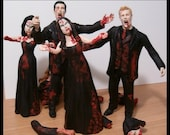 Set of 4 Zombie Bridal Party Figurine Cake Toppers - Made to Look Like Your Bridesmaids & Groomsmen