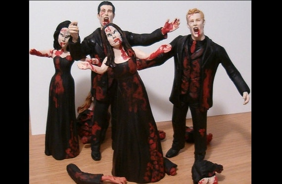 Zombie Wedding Gifts: Set Of 4 Zombie Bridal Party Figurine Cake By CreateYourTopper