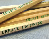 Create Happiness 6 Pencil pack in Natural Wood. Made in USA.