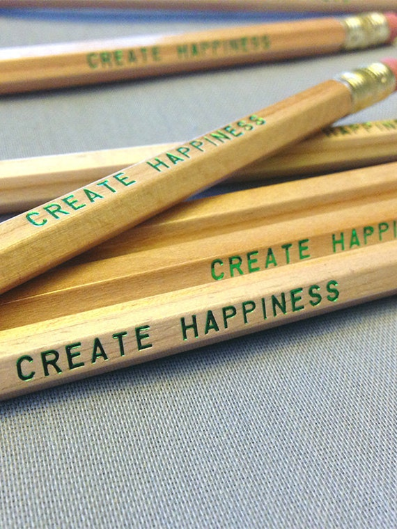 Create Happiness Pencil 6 pack, Earmark Pencils, engraved pencils, cool stocking gifts,