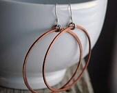 Hoop Earrings - Large Hoop Earrings - Rustic Fired Copper - EcoFriendly Sterling Silver Findings - Large Hoop Earrings - Boho Gypsy E3047