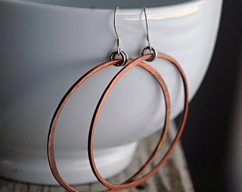Hoop Earrings - Large Hoop Earrings - Rustic Fired Copper - EcoFriendly Sterling Silver Findings - Large Hoop Earrings - Boho Gypsy E3047