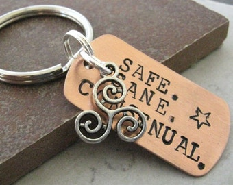 Safe Sane Consensual Keychain, tri swirl charm, triskele, bdsm inspired, great for your dungeon keys, master's keys, optional initial disc