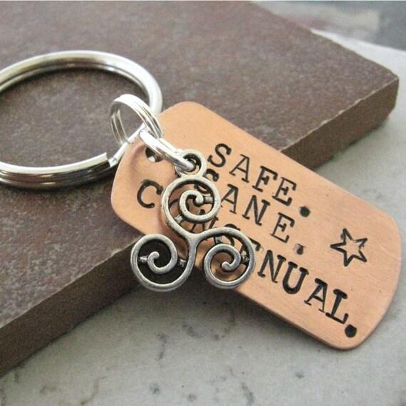 Safe Sane Consensual Key Chain With Tri Swirl Charm Triskele Bdsm