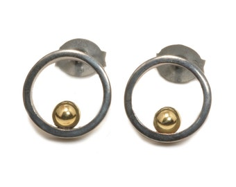 Open circle gold ball oxidised silver post earrings