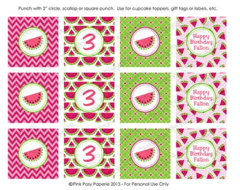 Printable Watermelon Birthday Cupcake Toppers