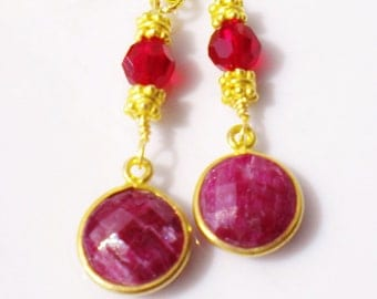 Ruby Gemstone Vintage Earrings 22K Vermeil Gold Accents Ruby Swarovski Crystals