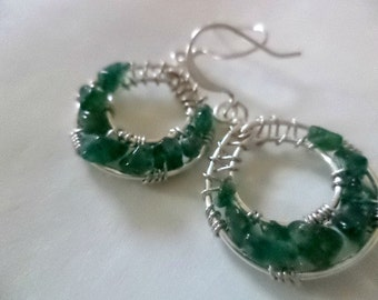 Green Shadows Goddess Wrap Earrings