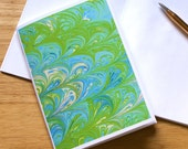 Marbled Paper Design Notebook no.3, Mini Journal, Small Jotter, Travel Notebook, Diary, Blue, Green, Blank, Eco-Friendly