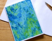 Marbled Paper Design Notebook no.7, Small Jotter, Travel Notebook, Mini Journal, Diary, Blue, Green, Eco-Friendly