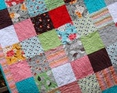 Custom Crib Quilt.  Patchwork Squares, Baby Gift. Gender Neutral, or Your Choice of Colors. 40x45