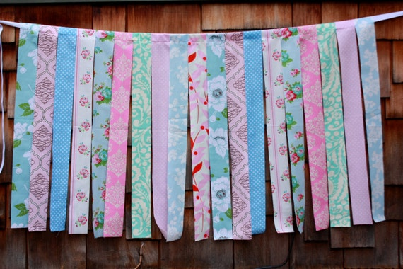 Fabric Strips Photo Prop, Shabby Chic. Designer's Choice Wedding Decoration, Nursery Decor. Fabric Garland Prop.  Children's room decor.