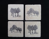 Tree Tile Coasters Tumbled Marble Hand Stamped Set of Four Black