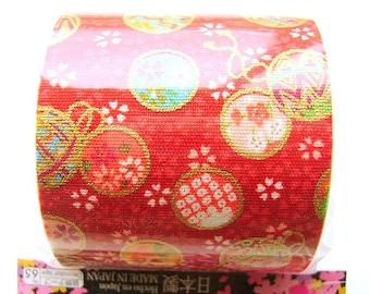 Japanese Fabric Tape Cherry Blossoms Temari Japanese Balls Red