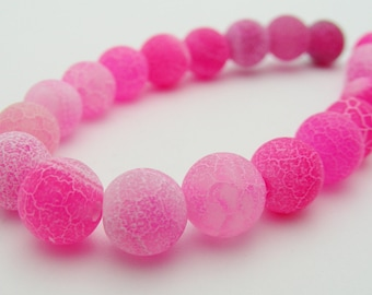 Dream Fire Dragon Veins Frosted Agate (Pink) 8mm Round-R