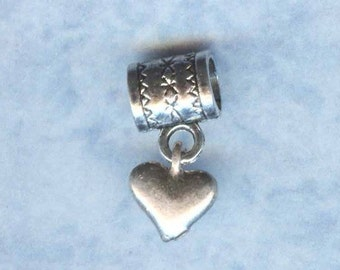 Sterling Silver Heart Lrg Hole Bead Fits All European  Add a Bead Charm Bracelet Jewelry Pnd-1560P