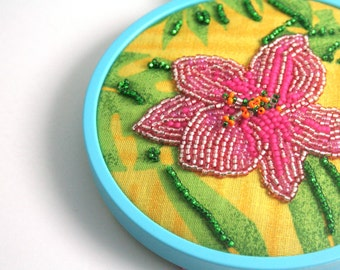 Tropical Breezes // Beaded Flower Painting // Mixed Media Art // Clearance