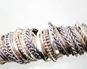 Stacking Rings, Single (1), Solid Sterling Silver, Hand crafted, Choose Your Own Stack, Different Shapes and Patterns