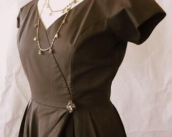 Vintage 60s Cap Sleeve Cocktail Dress / size 8 10 12 / TULIP SKIRT Dark Brown / 1950s Evening Party Georgia BULLOCK California