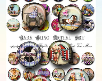 25 mm circles,Carnival, Circus and Sideshow Performers, digital collage sheets of  bottle cap images  INSTANT  Digital Download at Checkout