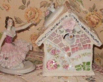 broken china and stained glass found swarovski bead birdhouse pink white and green floral roses white birds
