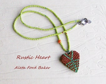 Necklace Beaded Heart Rustic Bead Charm Pendant Jewelry Valentine Gift