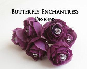 Purple Hair Flowers, Wedding Hair Accessories, Bridal Hair Pins - 6 Dk Plum Rose Wedding Hair Pins - Crystal Centers