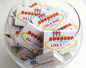 Wedding matchbox favors, personalized birthday anniversary celebration  -- Push your luck with Vegas Lites
