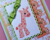 New Baby Card, Baby Boy Card, Baby Girl Card, Baby Shower Card, Orange Giraffe Baby Card, Handmade Greeting Card, Neutral Gender Card