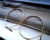 Simple Rustic Organic Open Ended Whisper Thin Hoops in 14K Gold Fill - MEDIUM Size