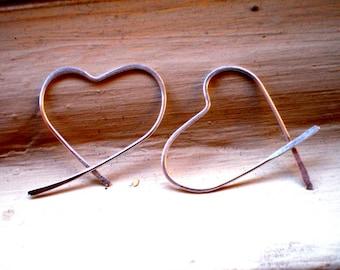 We Are in Love - Sterling Silver Heart Open Hoop Earrings
