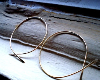 Simple Rustic Organic Open Ended Whisper Thin Hoops in Sterling 14K Gold Fill or Rose Gold Fill - MEDIUM Size