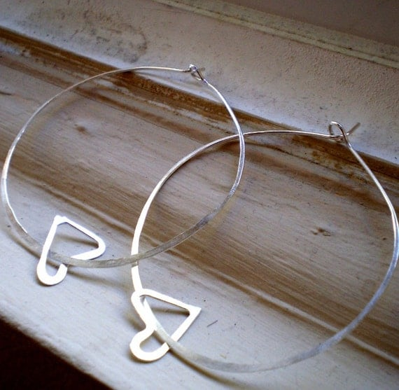 We Are in Love - Extra Large Sterling Silver Heart Hoop Earrings
