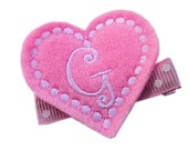 FELT Monogram Hair Clip - Baby Pink personalized HEART - monogrammed hair clips for girls Valentine's Day hair bow
