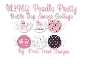INSTANT DOWNLOAD - M2MG Poodle Pretty Collage 1 inch Bottle Cap Disc-Its Scrapbooking Boutique Digital Collage Art Sheet