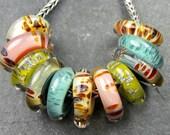 CrazyCatGlass Lampwork Boro Beads Pebble Path Sliders BHB (11)