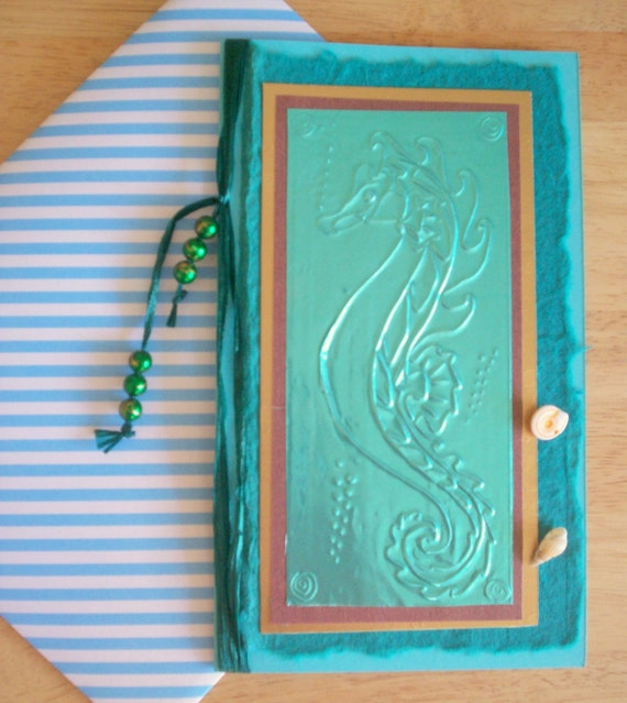Stunning Large Size Hand-Embossed Greetings Card - Sea Horse, Sea Themed