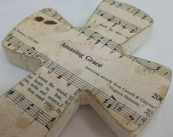 Amazing Grace Shabby Chic Wood Hymnal Cross MADE TO ORDER