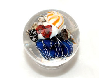 Lampwork Marble, Artisan Crafted Marble, Sea Scape Marble, Sealife Jellyfish Ocean Marble, art glass marble