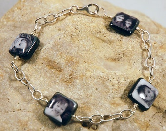 Custom Photo Bracelet with 4 Double-Sided Black Lip Mother of Pearl Charms wire-wrapped with Sterling Cable Chain