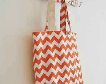 Roll Up Market Bag - Medium Chevron in Orange