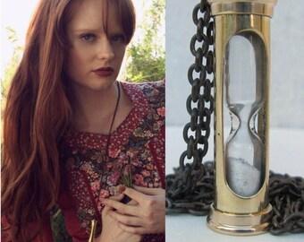 Hourglass Necklace -*BULK DISCOUNT*  Romantic Necklace/ 3d glass gold brass movable charm/ Vintage brass ox chain time *Bulk Options*S18